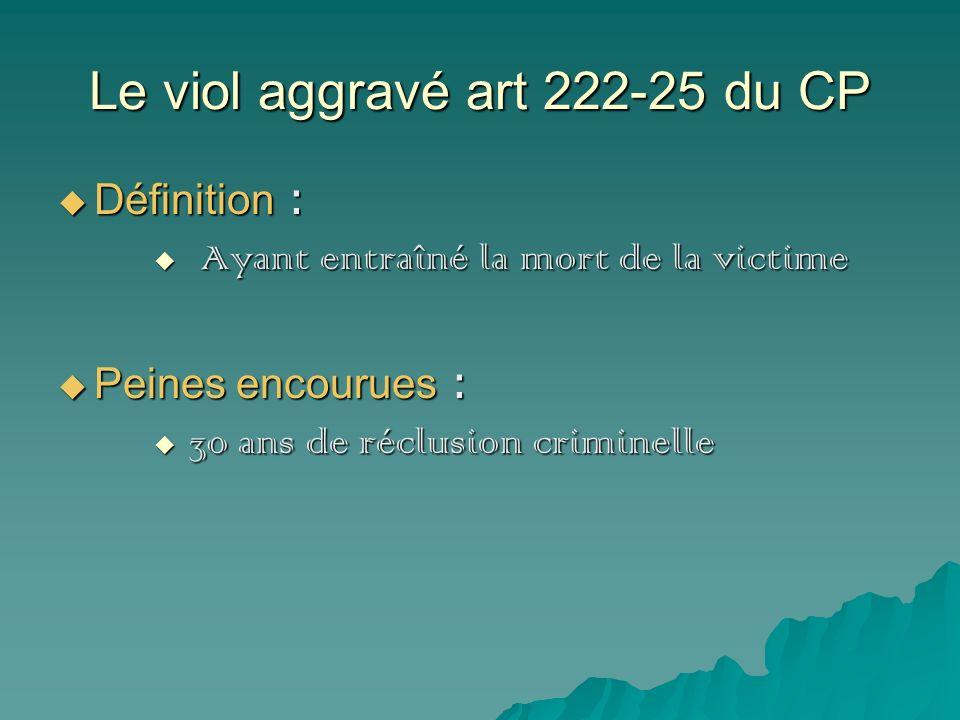 Le viol aggravé art 222-25 du CP