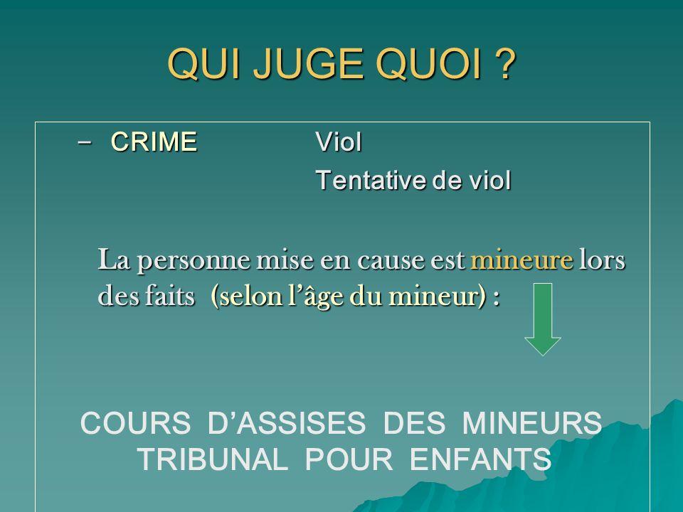 QUI JUGE QUOI COURS D'ASSISES DES MINEURS TRIBUNAL POUR ENFANTS