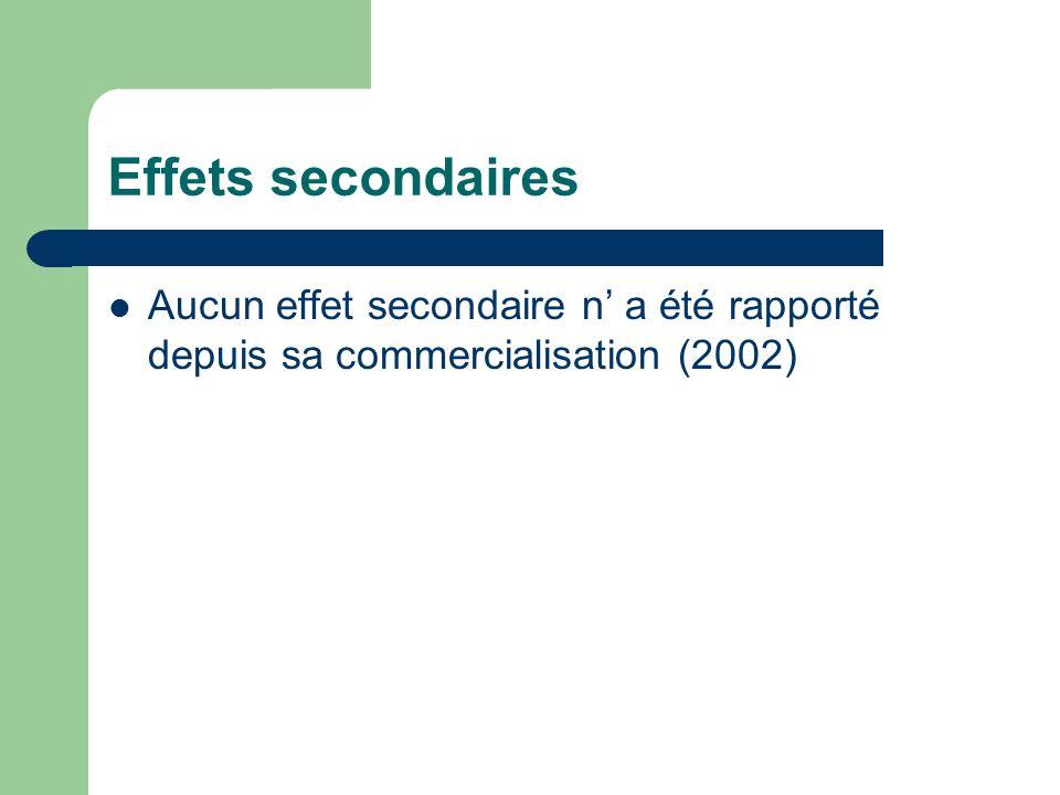 Effets secondaires Aucun effet secondaire n' a été rapporté depuis sa commercialisation (2002)