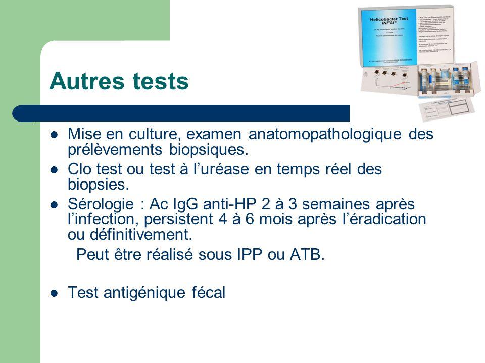 Autres tests Mise en culture, examen anatomopathologique des prélèvements biopsiques. Clo test ou test à l'uréase en temps réel des biopsies.