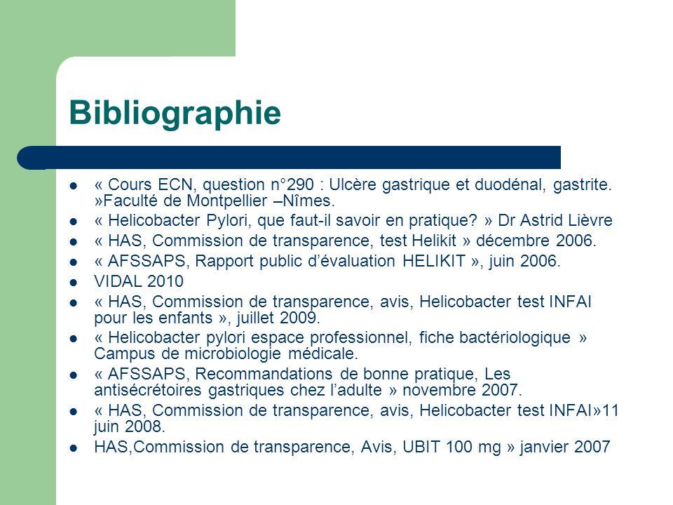 Bibliographie « Cours ECN, question n°290 : Ulcère gastrique et duodénal, gastrite. »Faculté de Montpellier –Nîmes.