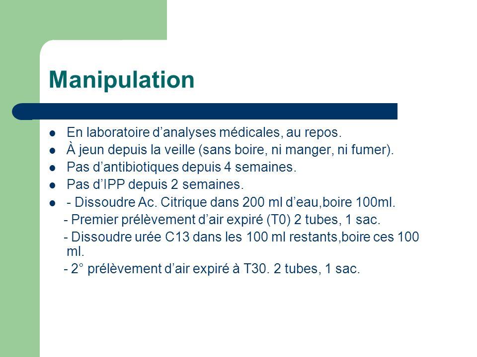 Manipulation En laboratoire d'analyses médicales, au repos.