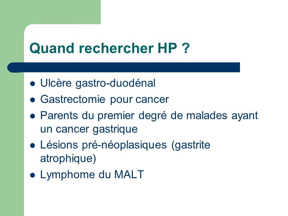Quand rechercher HP Ulcère gastro-duodénal Gastrectomie pour cancer