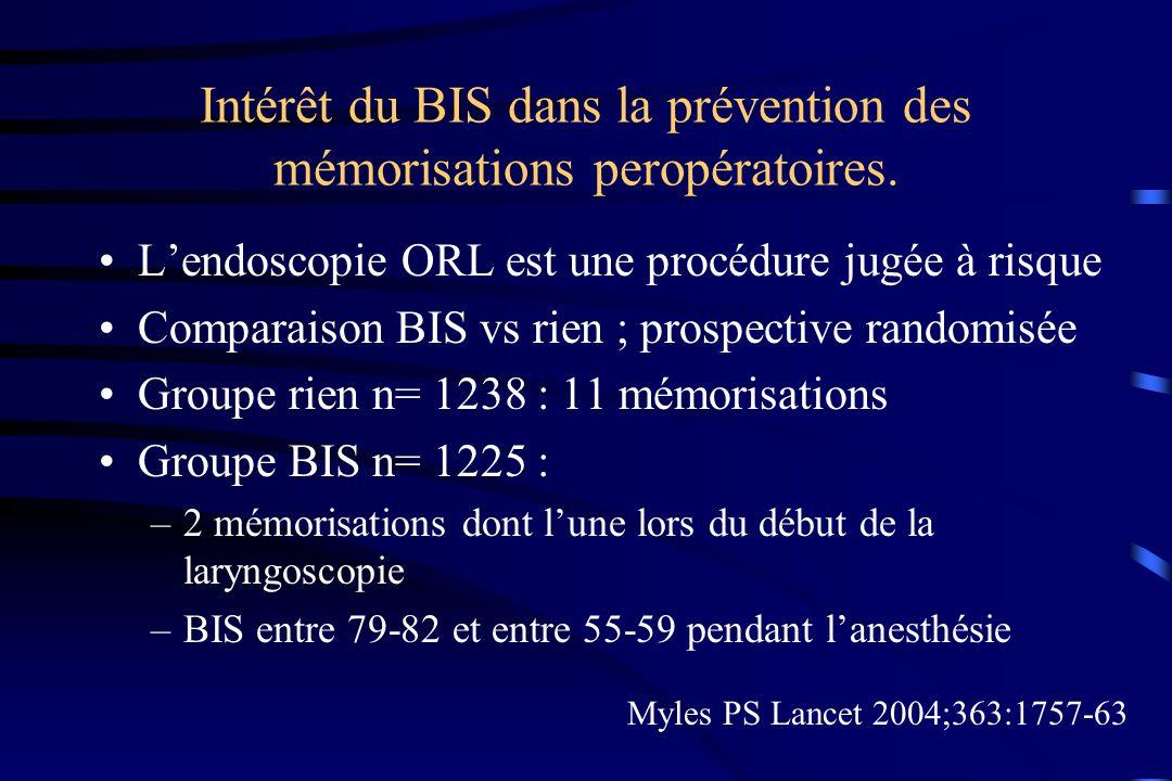 Intérêt du BIS dans la prévention des mémorisations peropératoires.