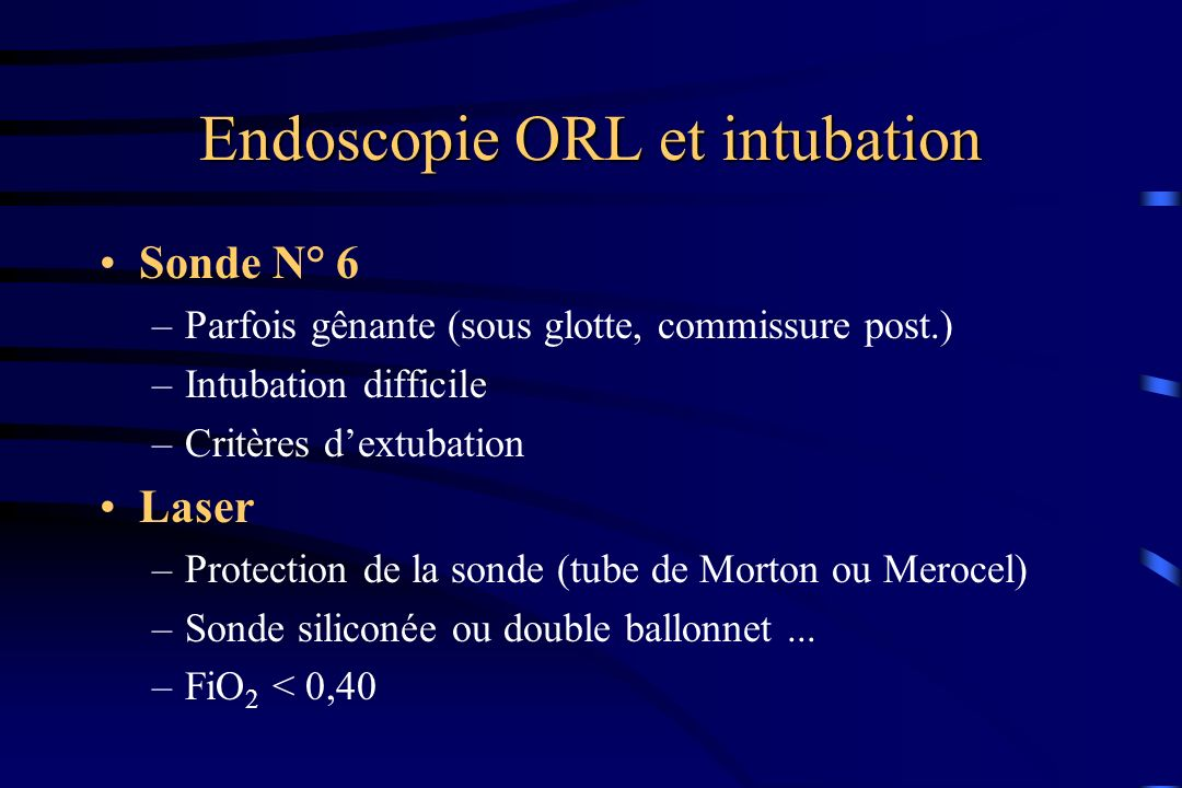 Endoscopie ORL et intubation