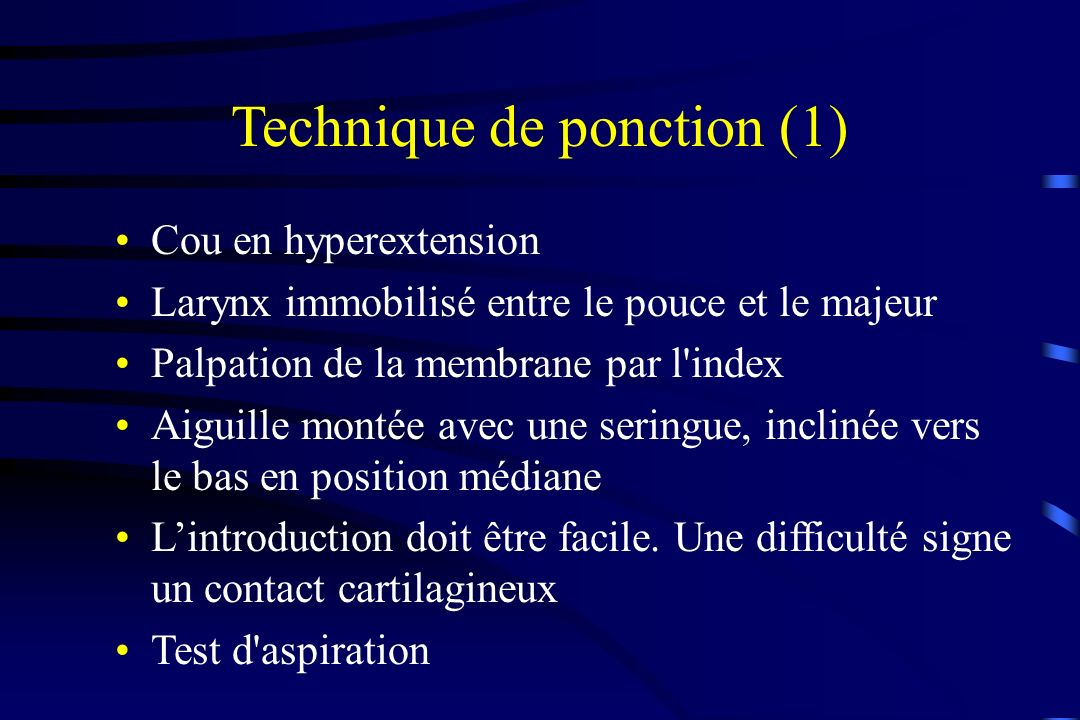 Technique de ponction (1)