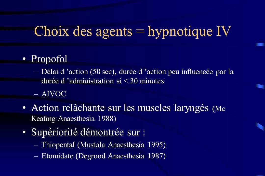Choix des agents = hypnotique IV