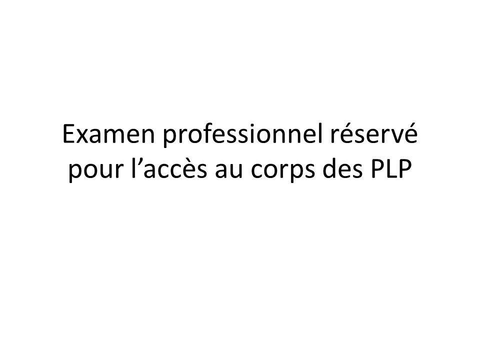 Examen professionnel réservé pour l'accès au corps des PLP
