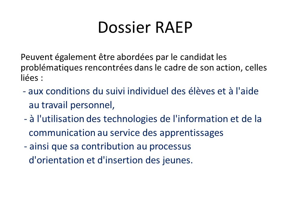 Dossier RAEP au travail personnel,