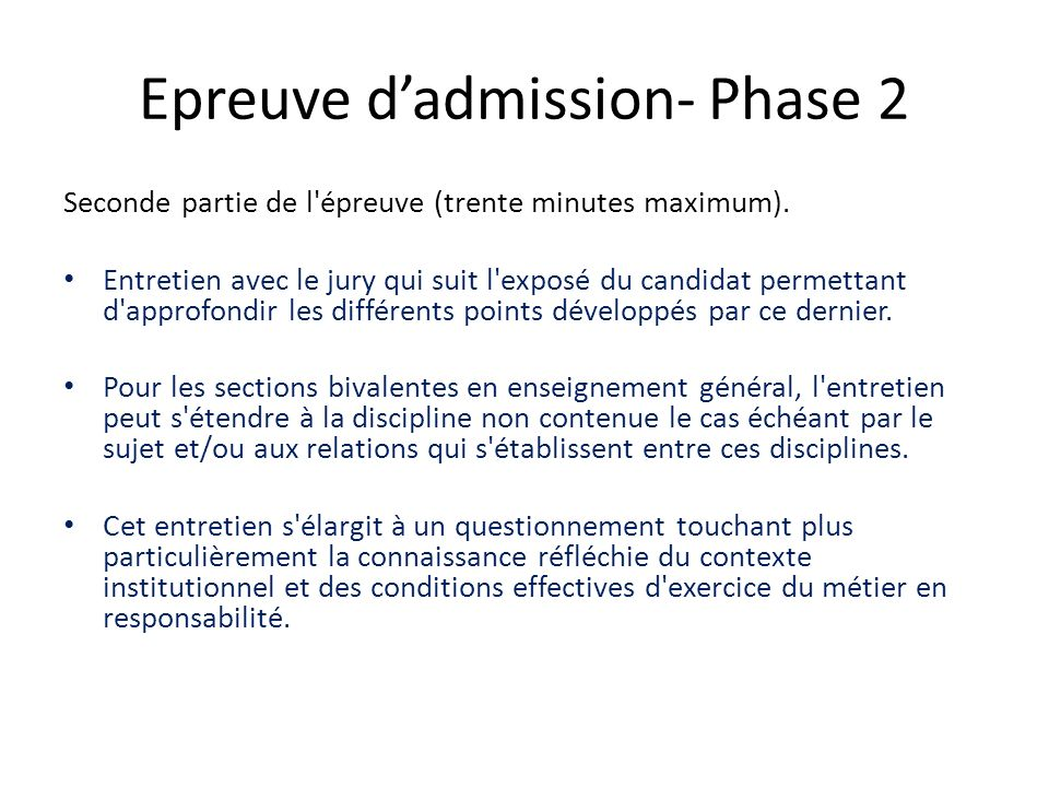 Epreuve d'admission- Phase 2