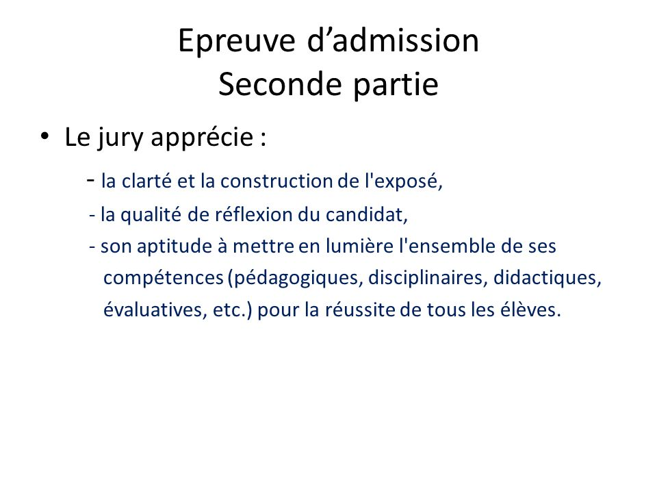 Epreuve d'admission Seconde partie