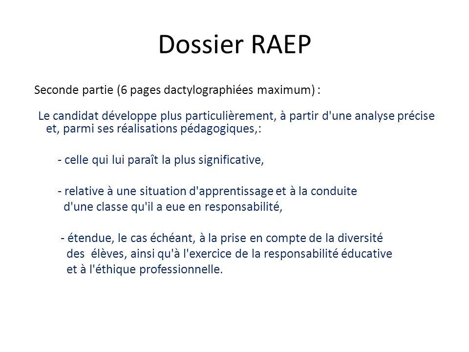 Dossier RAEP - celle qui lui paraît la plus significative,