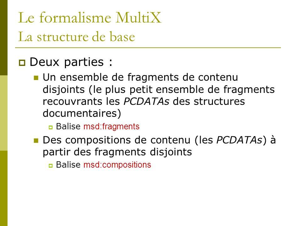 Le formalisme MultiX La structure de base