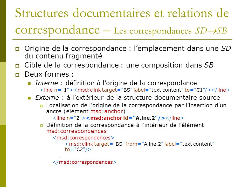 Structures documentaires et relations de correspondance – Les correspondances SDSB