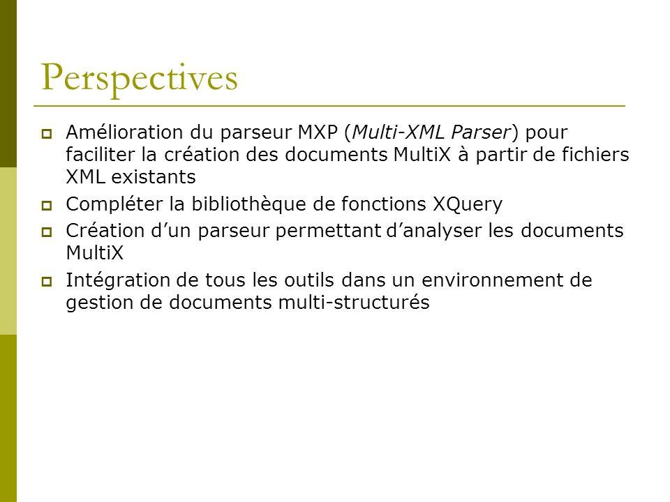 Perspectives Amélioration du parseur MXP (Multi-XML Parser) pour faciliter la création des documents MultiX à partir de fichiers XML existants.