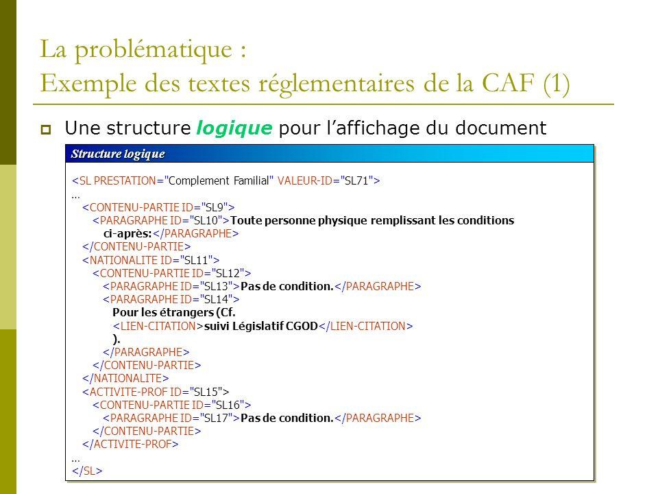 La problématique : Exemple des textes réglementaires de la CAF (1)