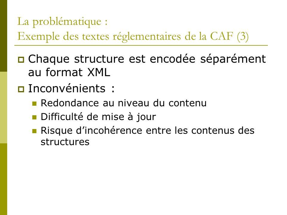 La problématique : Exemple des textes réglementaires de la CAF (3)