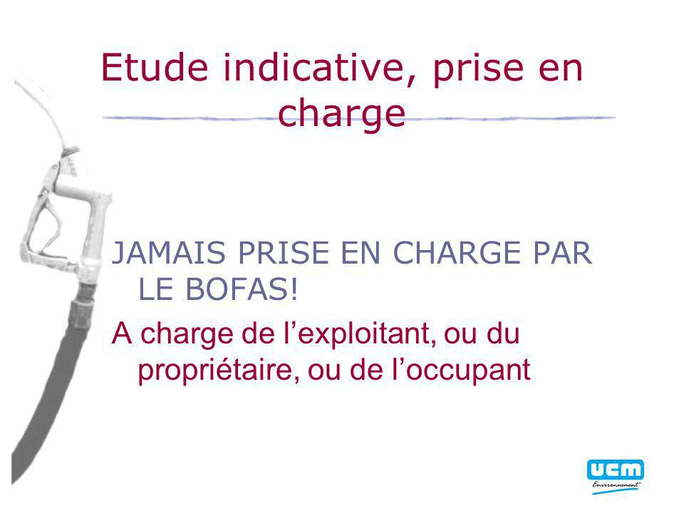 Etude indicative, prise en charge