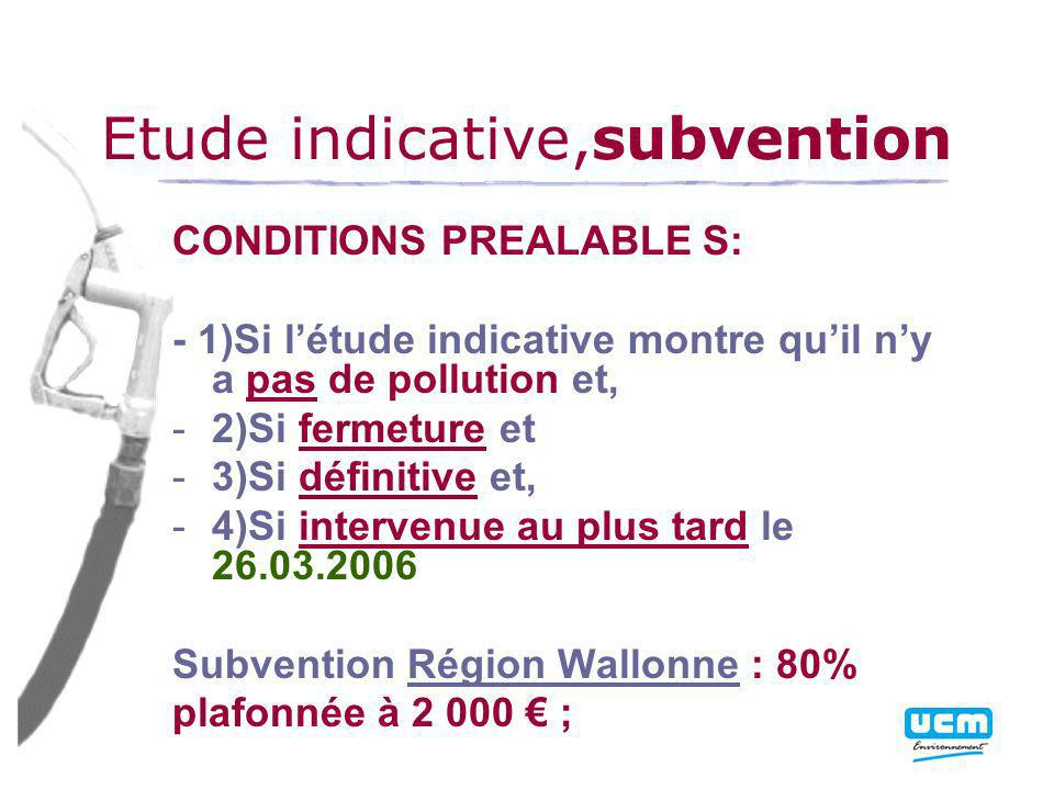 Etude indicative,subvention