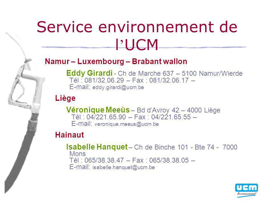 Service environnement de l'UCM