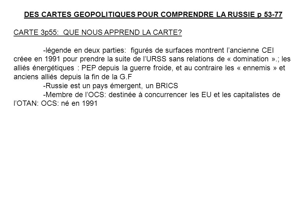 DES CARTES GEOPOLITIQUES POUR COMPRENDRE LA RUSSIE p 53-77
