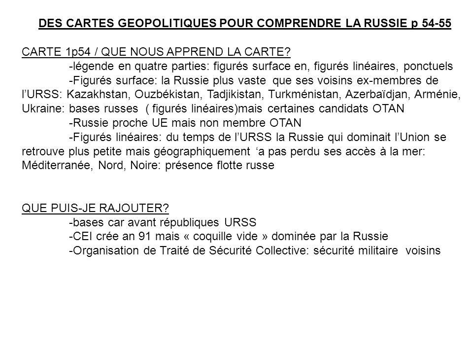DES CARTES GEOPOLITIQUES POUR COMPRENDRE LA RUSSIE p 54-55