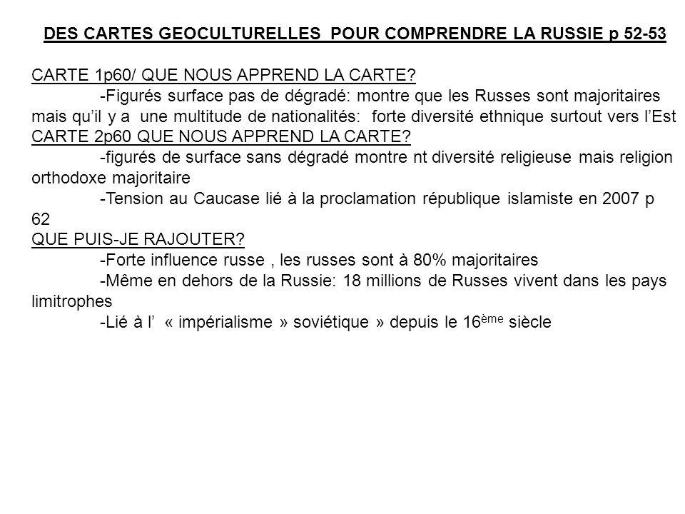 DES CARTES GEOCULTURELLES POUR COMPRENDRE LA RUSSIE p 52-53
