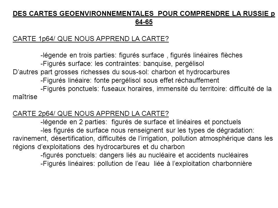 DES CARTES GEOENVIRONNEMENTALES POUR COMPRENDRE LA RUSSIE p 64-65