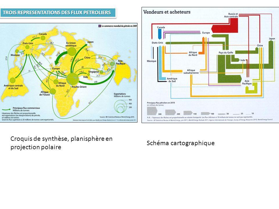 Croquis de synthèse, planisphère en projection polaire