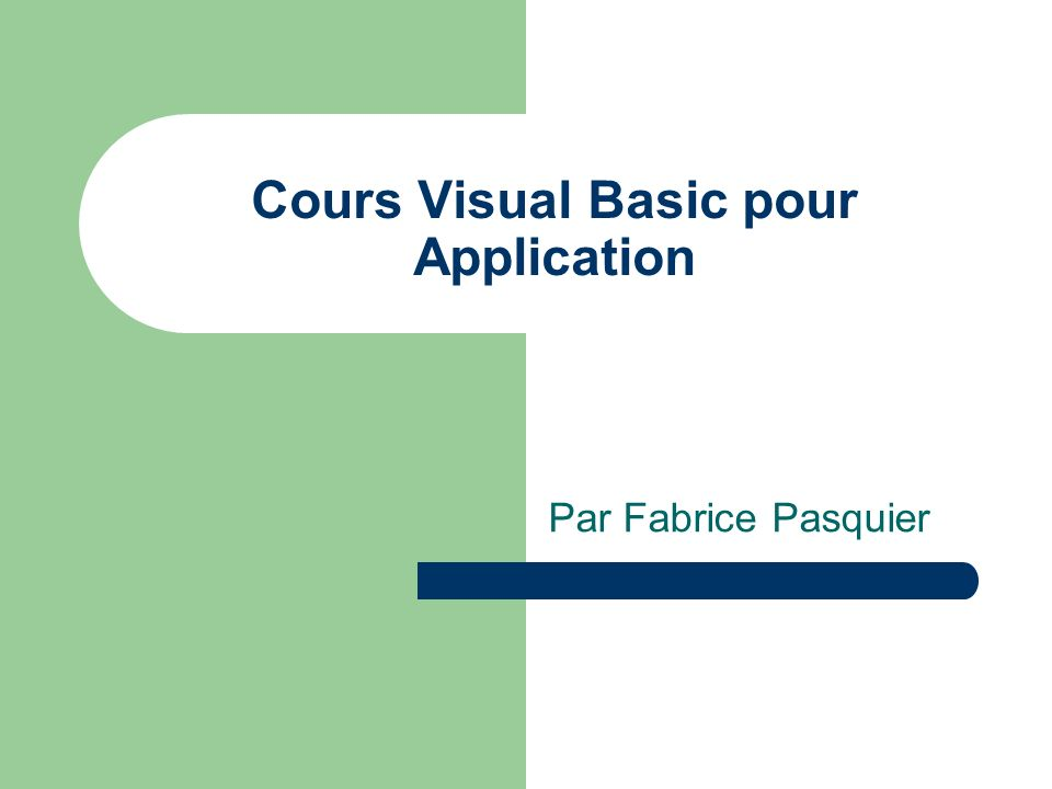Cours Visual Basic pour Application
