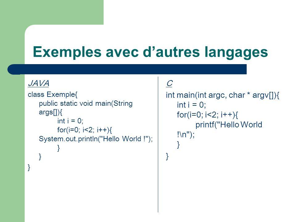 Exemples avec d'autres langages