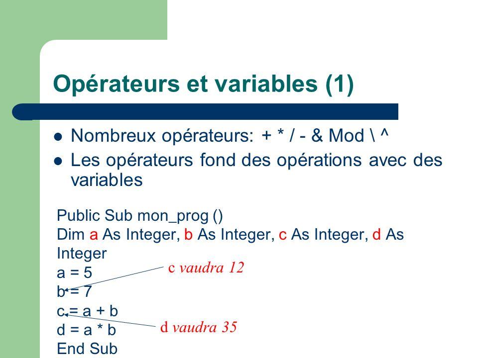 Opérateurs et variables (1)