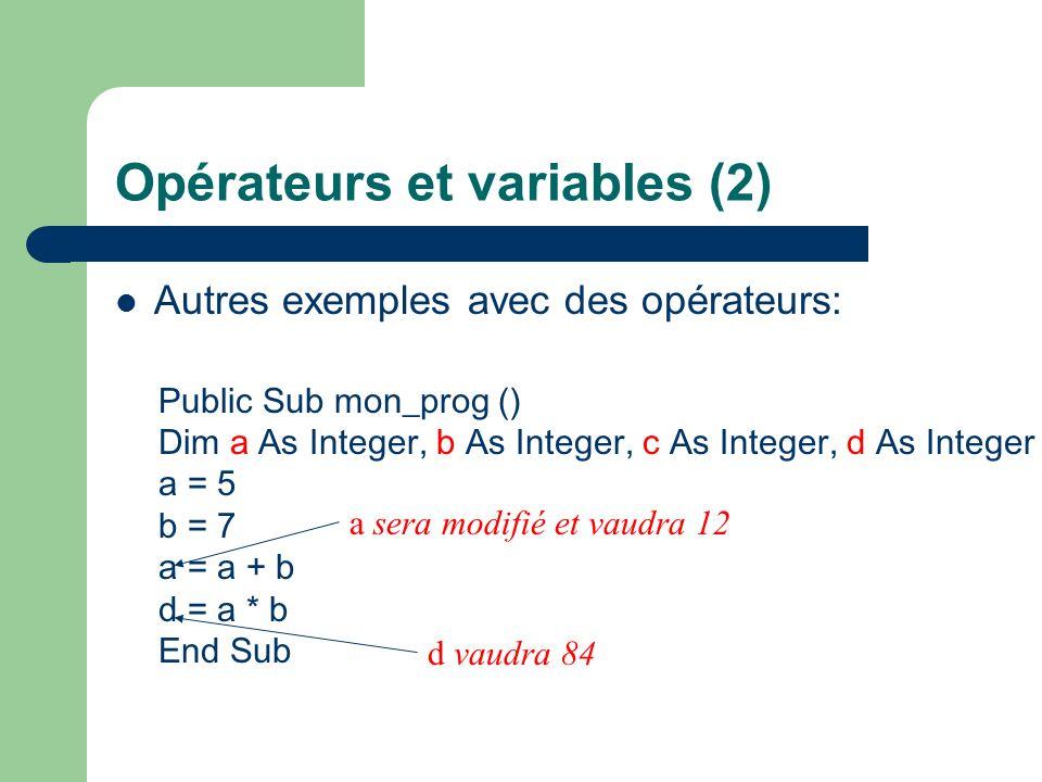 Opérateurs et variables (2)