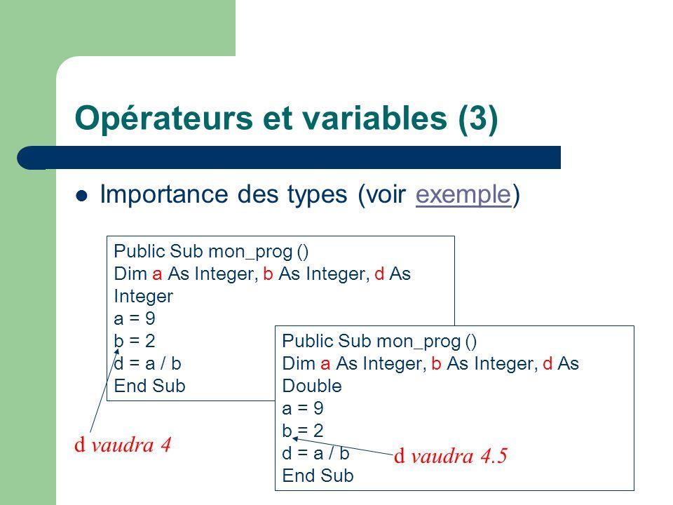 Opérateurs et variables (3)