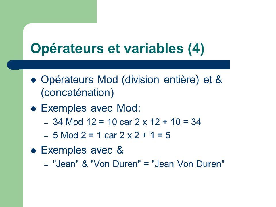 Opérateurs et variables (4)