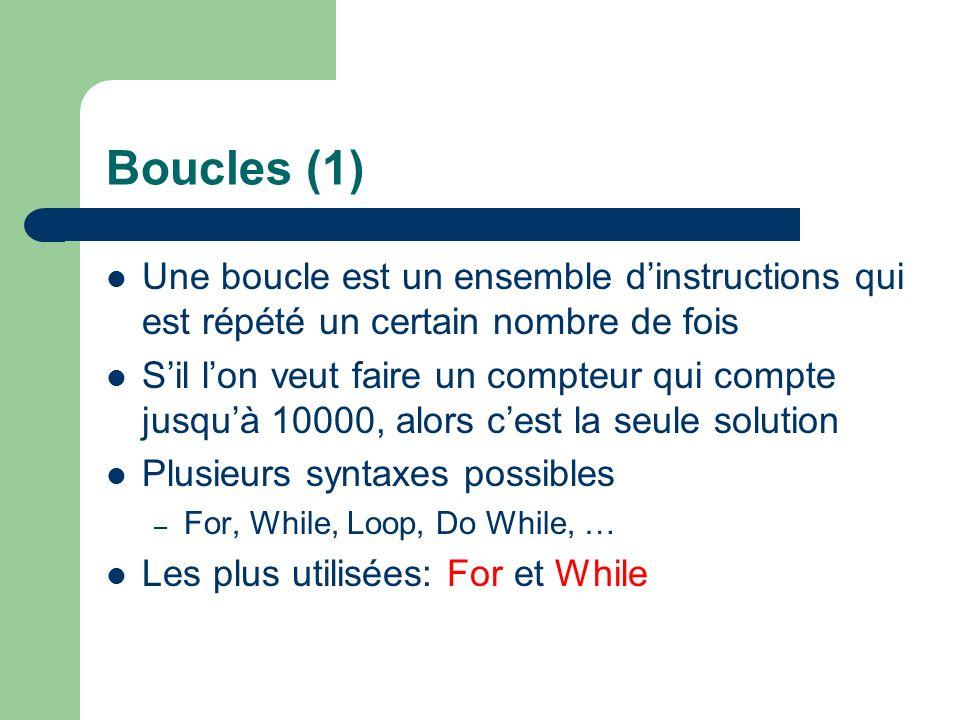 Boucles (1) Une boucle est un ensemble d'instructions qui est répété un certain nombre de fois.