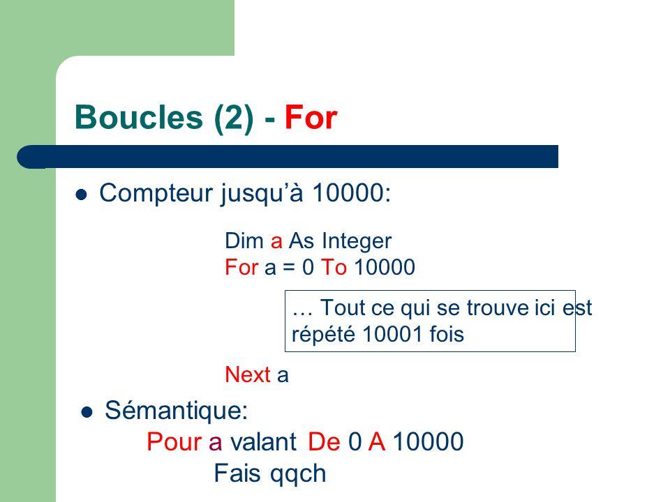 Boucles (2) - For Compteur jusqu'à 10000: