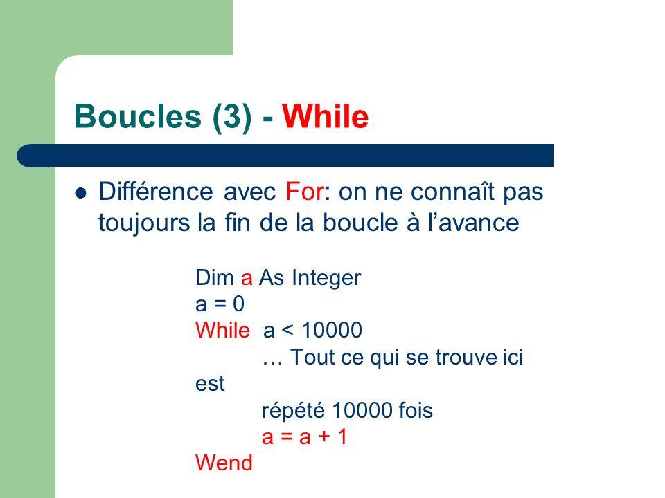 Boucles (3) - While Différence avec For: on ne connaît pas toujours la fin de la boucle à l'avance.
