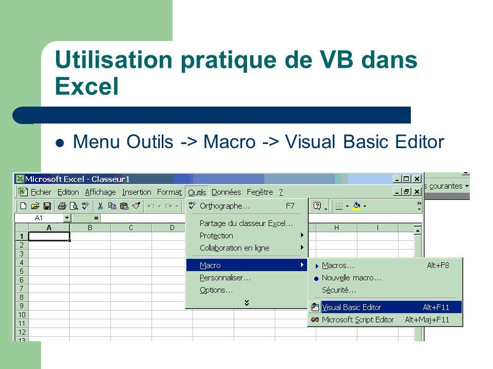 Utilisation pratique de VB dans Excel