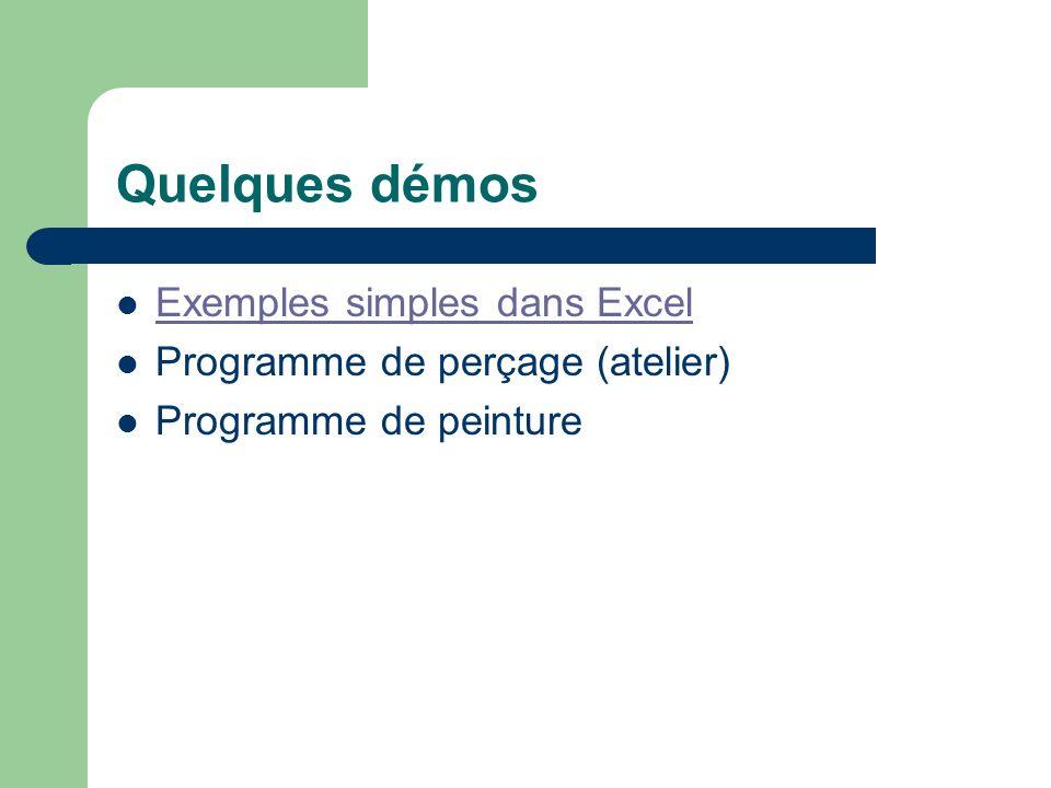 Quelques démos Exemples simples dans Excel