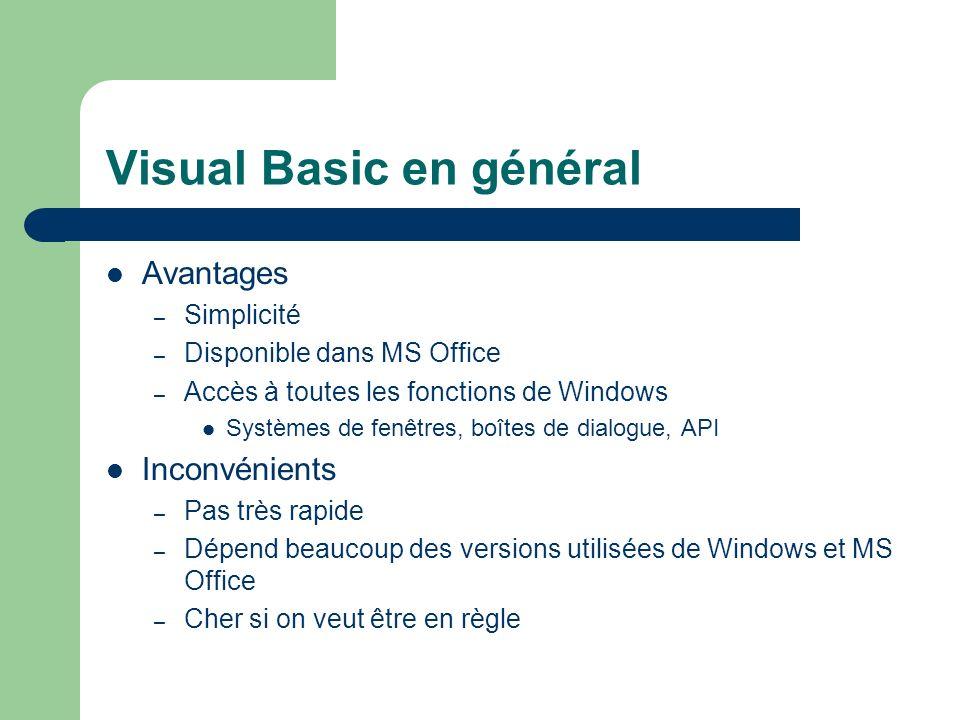 Visual Basic en général