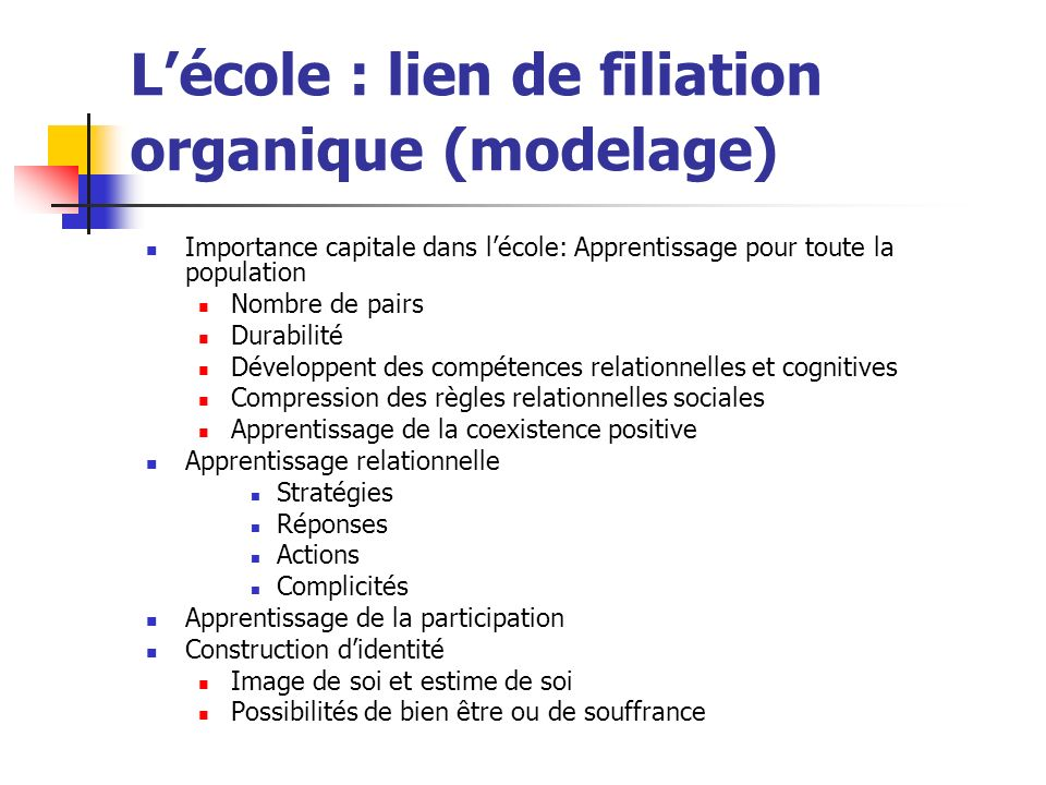 L'école : lien de filiation organique (modelage)