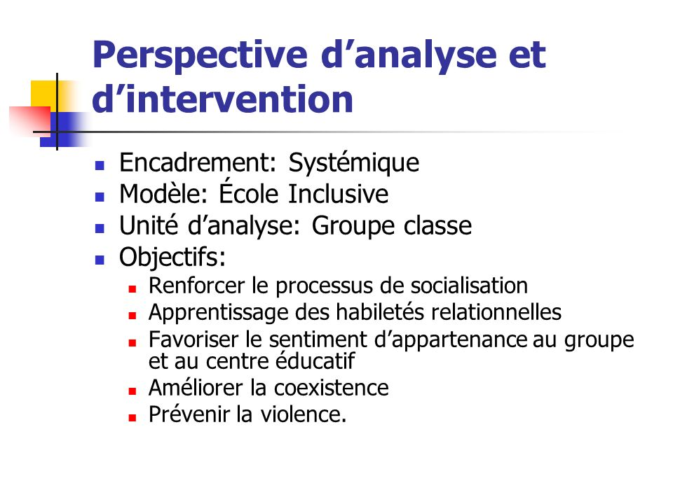 Perspective d'analyse et d'intervention