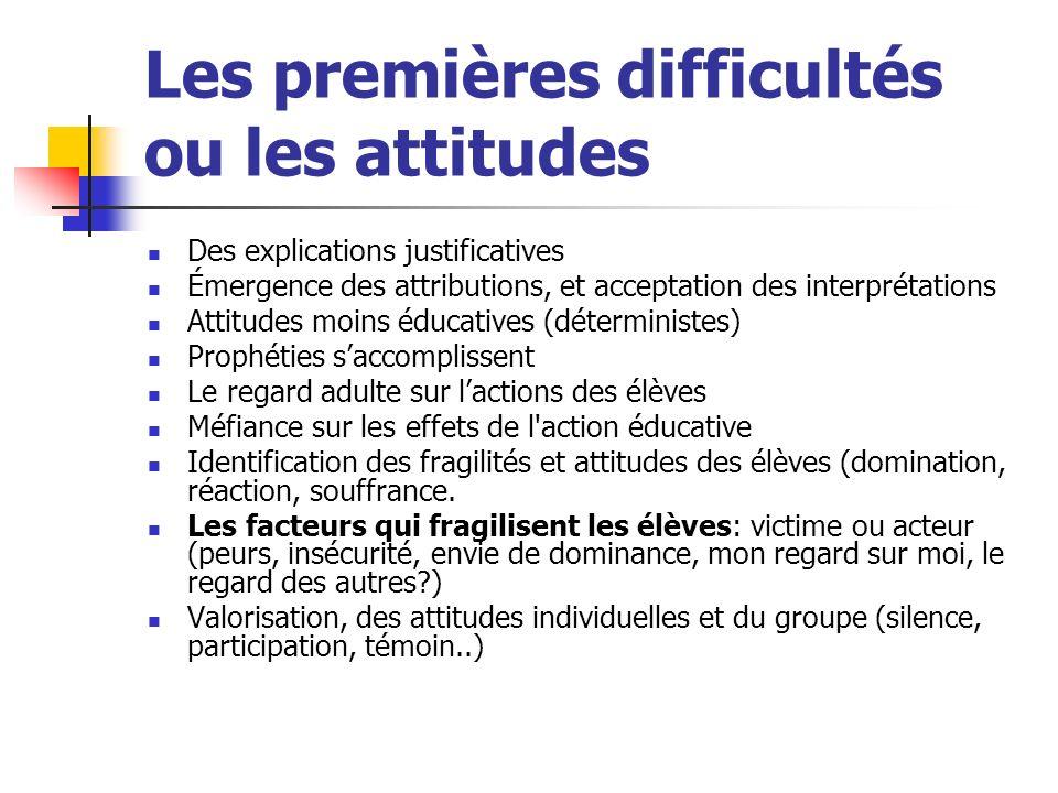 Les premières difficultés ou les attitudes