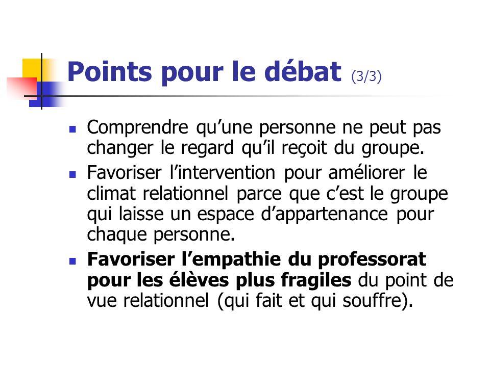 Points pour le débat (3/3)