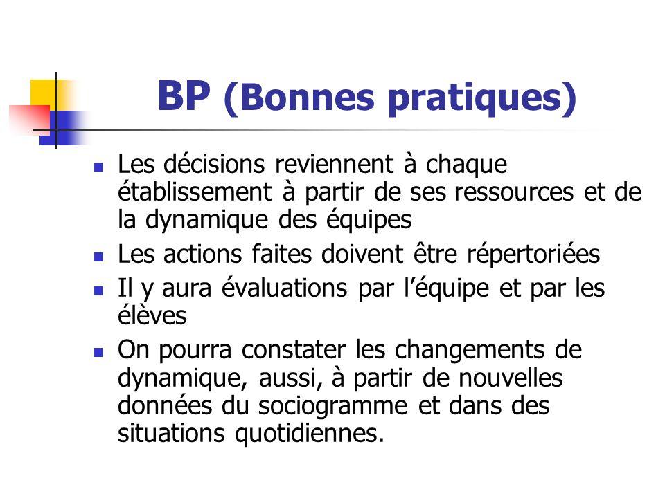 BP (Bonnes pratiques) Les décisions reviennent à chaque établissement à partir de ses ressources et de la dynamique des équipes.