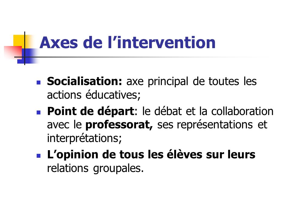 Axes de l'intervention