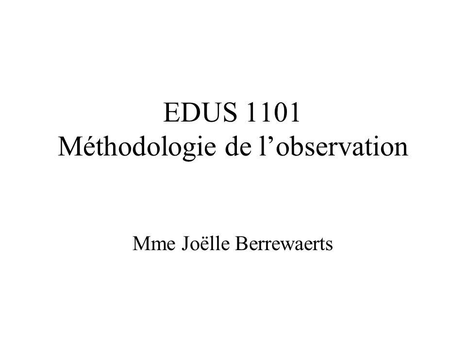 EDUS 1101 Méthodologie de l'observation