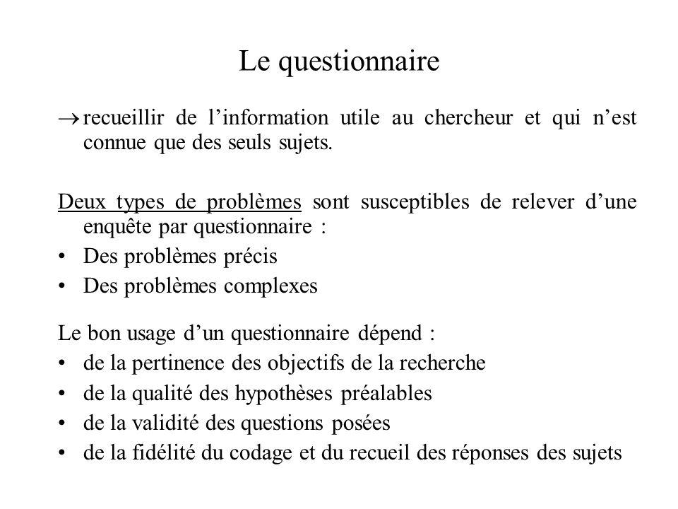 Le questionnaire recueillir de l'information utile au chercheur et qui n'est connue que des seuls sujets.