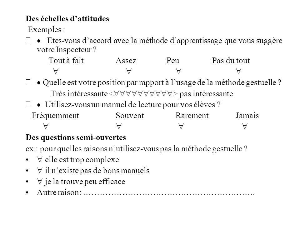 Des échelles d'attitudes